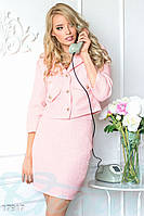 Модный костюм букле. Жакет и юбка. Цвет розовый.