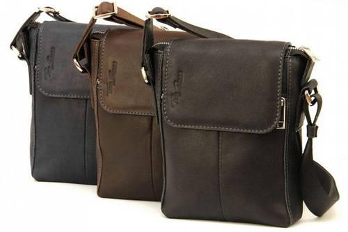 Мужская стильная сумка из натуральной кожи Tom Stone 402 (Коричневый, черный, серый)