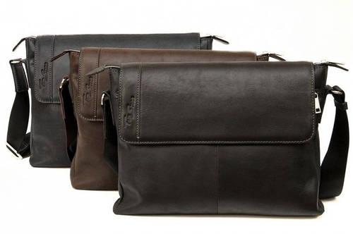 Мужская удобная сумка из натуральной кожи Tom Stone 404 (Коричневый, черный, серый)