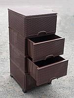 Комод пластиковый Ротанг Коричневый на 4 ящика 380Х460Х900 мм Elif Plastik KN-025