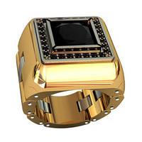 Серьезный мужской золотой перстень 585* пробы с ониксом и цирконием