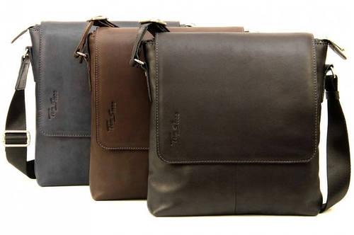 Мужская практичная сумка из натуральной кожи Tom Stone 405 (Коричневый, черный, серый)
