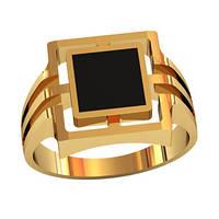Квадратичный мужской золотой перстень 585* пробы с Ониксом