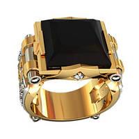 Комбинированный мужской золотой перстень 585* пробы с Ониксом