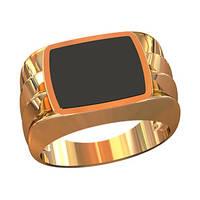 Гладкий мужской золотой перстень 585* пробы с Ониксом