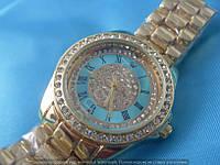 Часы Rolex B47 114390 женские золотистые с бирюзой стразы диаметр 38мм на металлическом браслете римские цифры