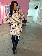 Пальто кашемировое, цвет Белый в клетку