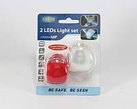 Фонарь велосипедный HJ008-2 2 LEDs Light set, комплект фонарей для велосипеда