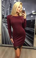 Элегантное бордовое  платье   с кружевом  !