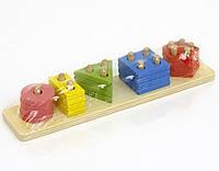 Пирамидка детская деревянная с фигурками