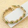 R10-0001 - Позолоченный браслет с оливково-зелёными и прозрачными фианитами, 17.5-19.0 см