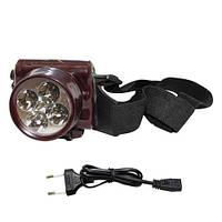 Налобный аккумуляторный фонарик на 5 светодиодов YJ-1829-5, яркий светодиодный фонарик