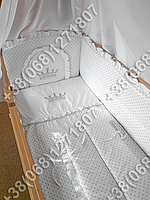 """Детское постельное белье в кроватку с вышивкой """"Корона"""" комплект 7 ед. (белый)"""