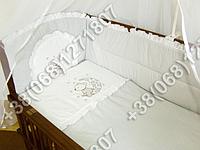 """Детское постельное белье в кроватку с вышивкой """"Мишка"""" комплект 7 ед. (серый)"""