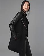 Пальто с кожаными вставками РМ6582