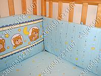 Защита бортик из 4 частей в детскую кроватку для новорожденных (мишка в круге голубой)