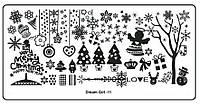 Пластина для стемпинга - зима, рождество, снежинки