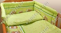 Защита бортик из 4 частей в детскую кроватку для новорожденных (мишка в круге салатовый)