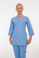 Медицинский костюм небесно-голубого цвета