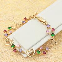 005-0658 - Позолоченный браслет Love с цветными фианитами, 18.0-21.0 см