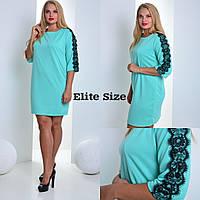 Женское модное прямое платье больших размеров со вставкой кружева (3 цвета)