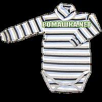Детский боди-гольф в полоску р. 74 в рубчик с начесом ткань РУБЧИК 100% хлопок ТМ Ромашка 3190 Голубой1