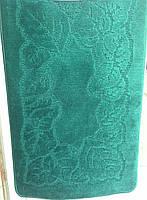 """Набор ковриков для ванной, 60х100 + 60х50см. """"Орнамент"""", цвет зеленый"""