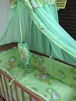 Без балдахина! Постельное бельё в детскую кроватку Мишки на лестнице салатовый