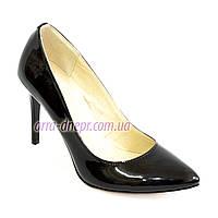 Туфли женские на высоком каблуке, черная лаковая кожа. 35,36,40 размеры, фото 1