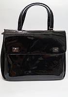 Черная стильная сумка-портфель из натуральной лаковой кожи