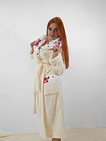 Батальный длинный бежевый махровый халат с капюшоном