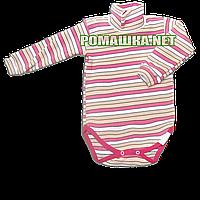 Детский боди-гольф в полоску р. 86 в рубчик с начесом ткань РУБЧИК 100% хлопок ТМ Ромашка 3190 Розовый2