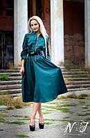 Модное зеленое платье батал с поясом. Арт-8608/72