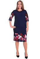 Платье женское размер 44-52 трикотаж Польша в цветы