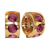 Круглые золотые серьги 585* пробы с крупными камнями