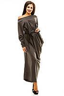 Трикотажное платье в пол однотонное серое