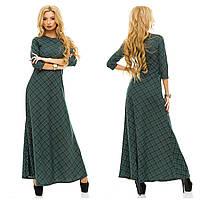Трикотажное женское платье в пол в клетку зеленое