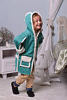 Дублёнка пальто детская ментол с капюшоном