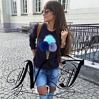 Черная женская  кофта  больших размеров с бумбонами с натурального меха. Арт - 8613/72