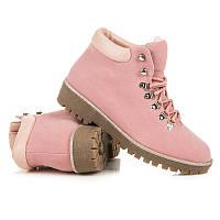 Модные женские ботинки розовые из замши (тимберленды)