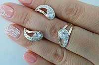 Нежное колечко и сережки из серебра и золота