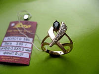 Золотое кольцо с ПРИРОДНЫМ САПФИРОМ  0,5 карата 16.5 размер 3.69 грамма