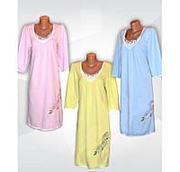 Ночная рубашка теплая с кружевом и вышивкой, 100 % хлопок, начес,  р.р.48-58