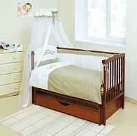 Детский постельный комплект Twins Etno E-001 Птички 7 предметов, беж/оливковий