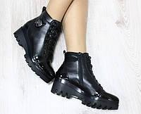 Ботинки демисезонные кожаные на утолщенной подошве, черные