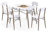 Столовый комплект Halmar Record с прямоугольным столом и стульями белого цвета