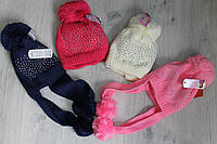 Детская вязаная шапка для девочки на 6-8 лет.