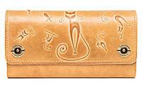 Женский кошелек из кожи на кнопках