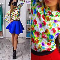 Костюм рубашка в цветочный принт и короткая юбка из неопрена Kb67
