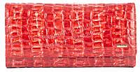 Вместительный оригинальный кожаный лаковый женский кошелек бумажник красного цвета H.Verde art.2597-F14